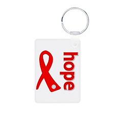 Hope Heart Disease Ribbon Aluminum Photo Keychain