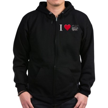 I Love Chinchillas Zip Hoodie (dark)