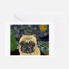 Starry night pug Greeting Cards (Pk of 10)