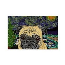 Starry night pug Rectangle Magnet