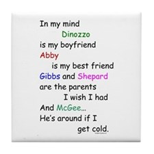 Dinozzo Boyfriend Abby Tile Coaster