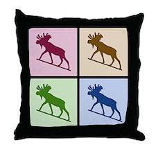 Moose (4 color) Throw Pillow