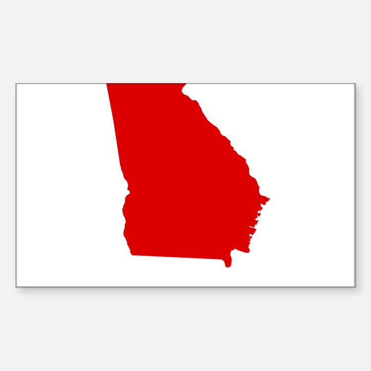 Red Georgia Sticker (Rectangle)