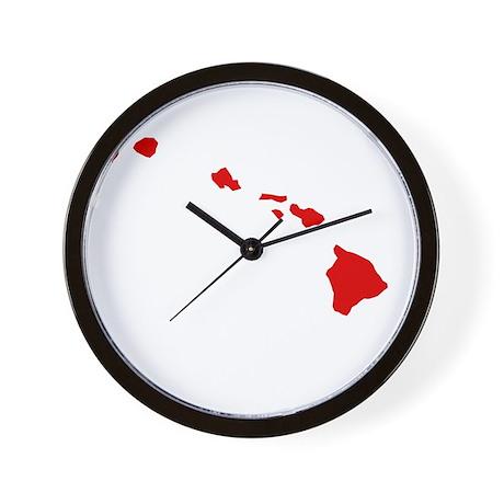 Red Hawaii Wall Clock