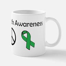love, peace, awareness Mugs