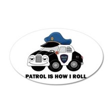 Police Car 22x14 Oval Wall Peel