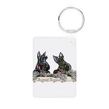 Lilac Scottish Terriers Aluminum Photo Keychain