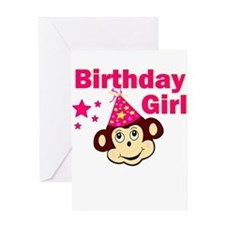 Birthday Girl Monkey Greeting Card