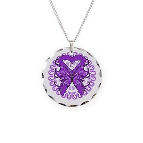 Butterfly Alzheimers Disease Necklace Circle Charm