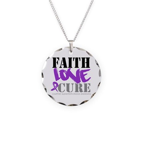 Faith Love Cure Alzheimers Necklace Circle Charm
