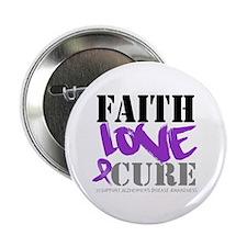 "Faith Love Cure Alzheimers 2.25"" Button (100 pack)"