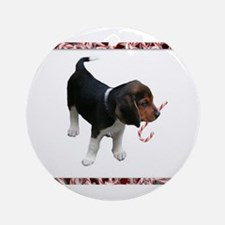 Candy Cane Beagle Ornament (Round)
