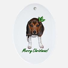 Christmas Beagle Ornament (Oval)
