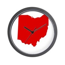 Red Ohio Wall Clock