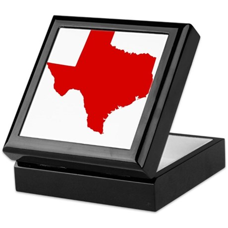 Red Texas Keepsake Box