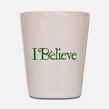 I Believe with Santa Hat Shot Glass