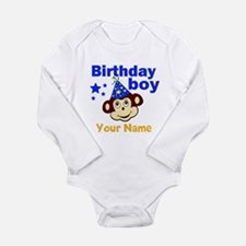 Birthday boy monkey custom Long Sleeve Infant Body