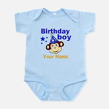 Birthday boy monkey custom Infant Bodysuit