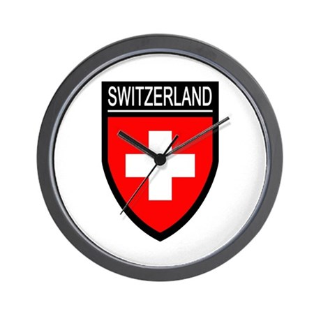Switzerland Flag Patch Wall Clock