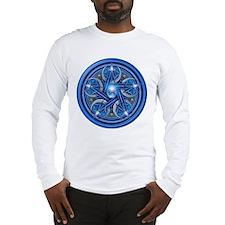 Blue Crescent Moon Pentacle Long Sleeve T-Shirt