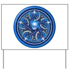 Blue Crescent Moon Pentacle Yard Sign