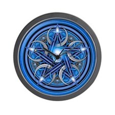 Blue Crescent Moon Pentacle Wall Clock