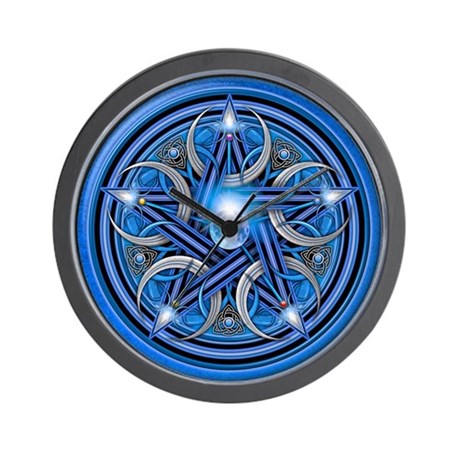 Blue Crescent Moon Pentacle Wall Clock