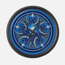 Blue Crescent Moon Pentacle Large Wall Clock