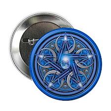 "Blue Crescent Moon Pentacle 2.25"" Button"
