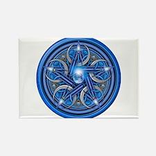 Blue Crescent Moon Pentacle Rectangle Magnet (10 p