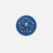 Blue Crescent Moon Pentacle Mini Button