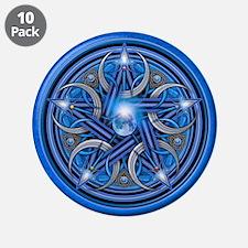 "Blue Crescent Moon Pentacle 3.5"" Button (10 pack)"
