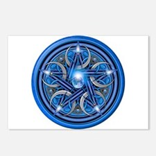 Blue Crescent Moon Pentacle Postcards (Package of