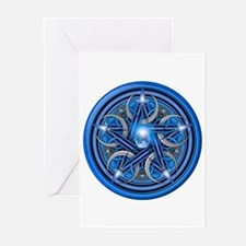 Blue Crescent Moon Pentacle Greeting Cards (Pk of