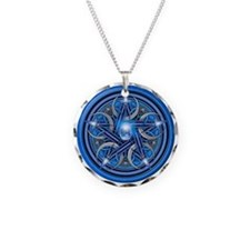 Blue Crescent Moon Pentacle Necklace