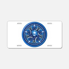Blue Crescent Moon Pentacle Aluminum License Plate