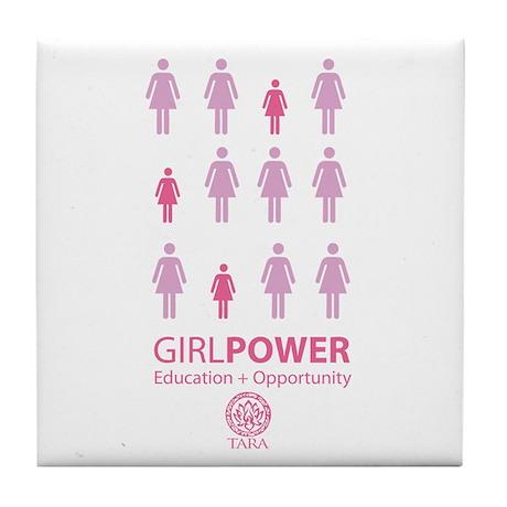 Girl Power! Pink Light Tile Coaster