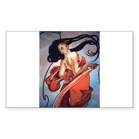 Alphonse Mucha Sticker (Rectangle)
