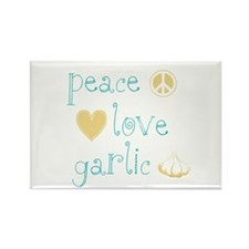 Peace, Love and garlic Rectangle Magnet