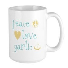 Peace, Love and garlic Mug