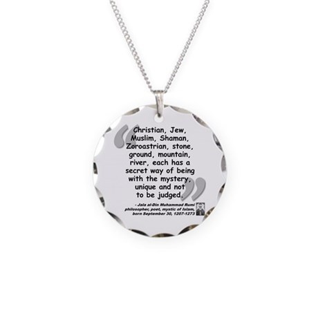 Rumi Mystery Quote Necklace Circle Charm