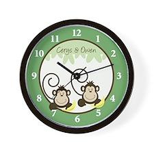 Silly Monkeys Wall Clock - Cerys & Owen