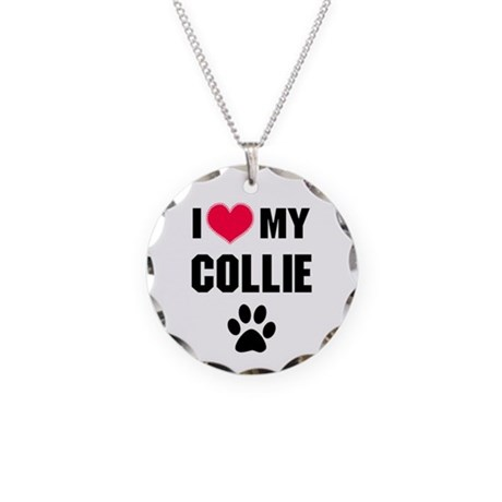 I Heart My Collie Necklace Circle Charm
