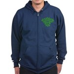 Green Man Zip Hoodie (dark)