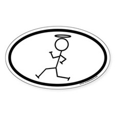 Stickman with Halo Euro Oval Decal