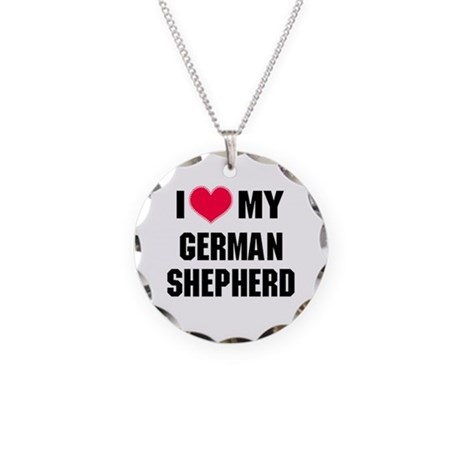 Heart My German Shepherd Necklace Circle Charm