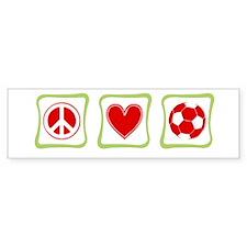 Peace, Love and Soccer square Bumper Sticker
