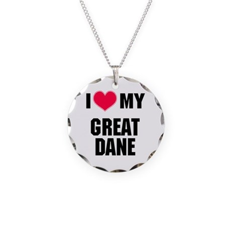 I Heart My Great Dane Necklace Circle Charm