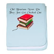 """Old Librarians Never Die"" baby blanket"