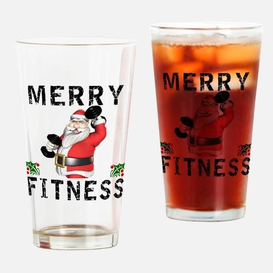Merry Fitness Santa Drinking Glass